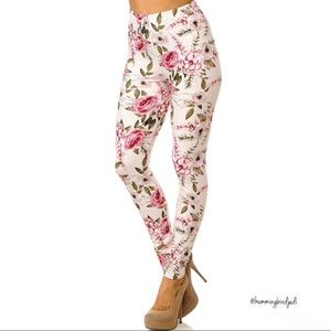 Pants - Extra Plus Size Ivory Rose Floral Leggings 3X-5X